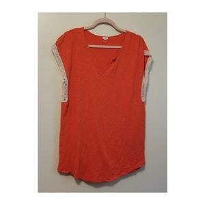 J. Crew Womens Cap Sleeve Blouse Orange Size L